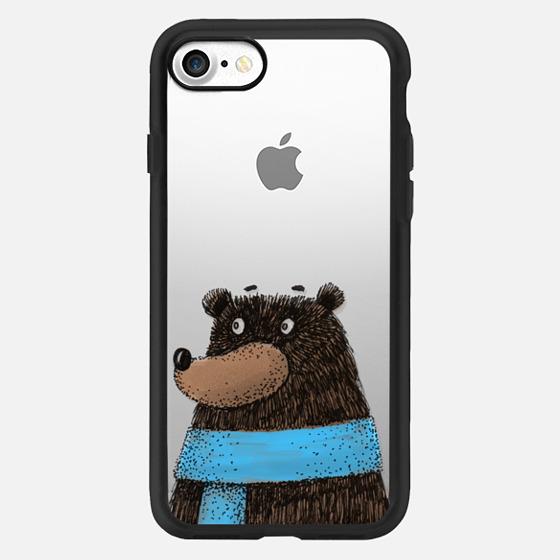 Love winter. Happy cute cartoon bear -