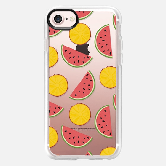 Watermelon and pineapple. Fresh fruit pattern - Classic Grip Case