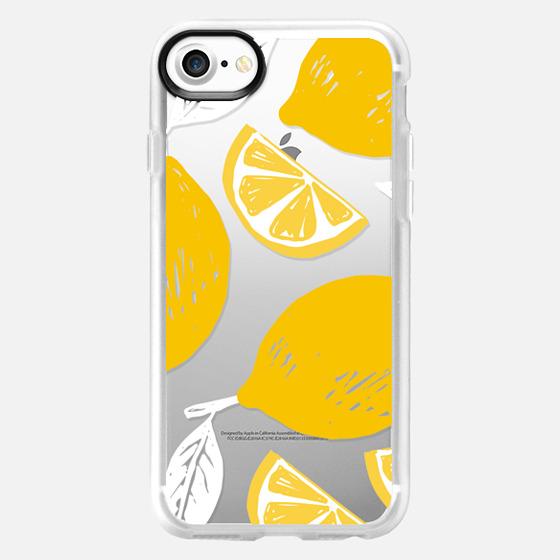 Hand Drawl lemon summer print - Classic Grip Case