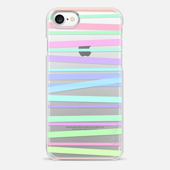 iPhone 7 Case Pastel Rainbow Stripes - Transparent/Clear Background