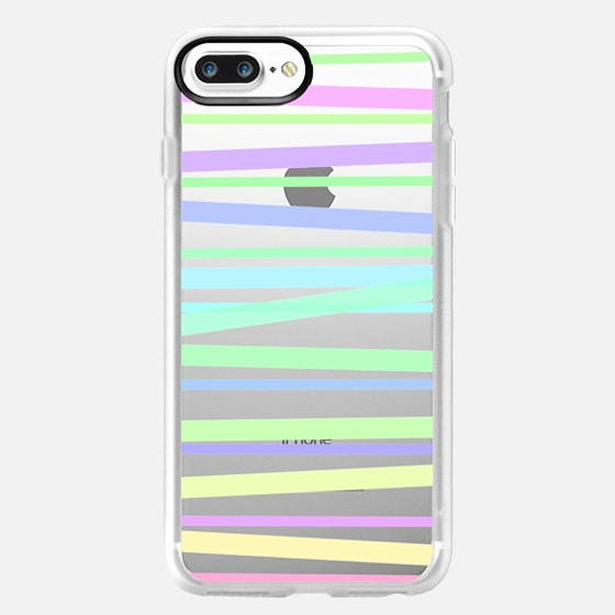 Pastel Rainbow Stripes III - Transparent/Clear Background - Classic Grip Case