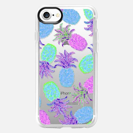 Pineapple Pandemonium Lavender Blue - Transparent/Clear Background - Wallet Case