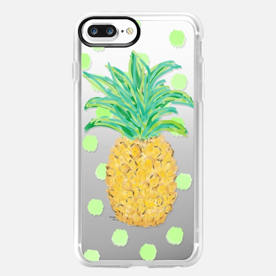 Pineapple and Greenie Dots - Transparent/Clear background -