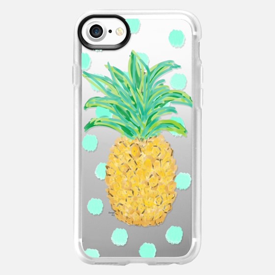 Pineapple and Aqua Dots - Transparent/Clear background -
