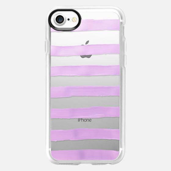 Pastel Lavender Stripes (transparent) - Wallet Case