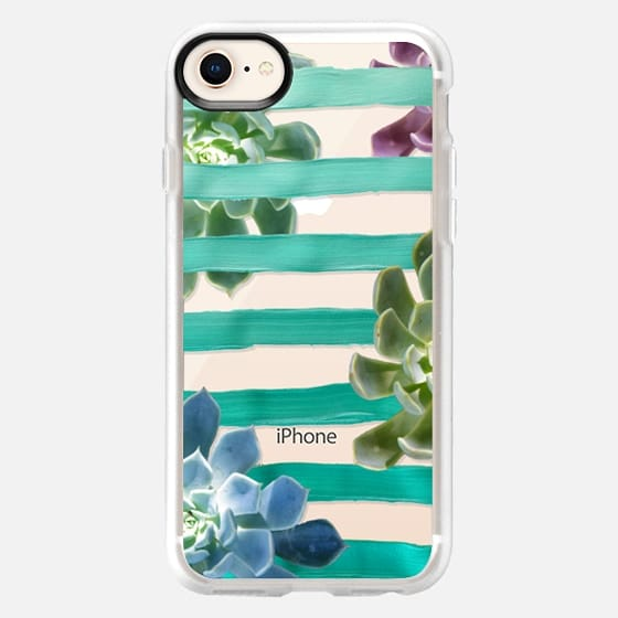 Turquoise Stripes and Succulents (Transparent) - Snap Case