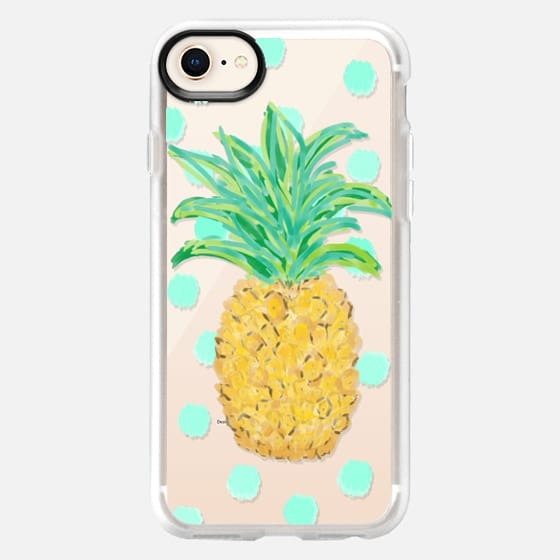 Pineapple and Aqua Dots - Transparent/Clear background - Snap Case