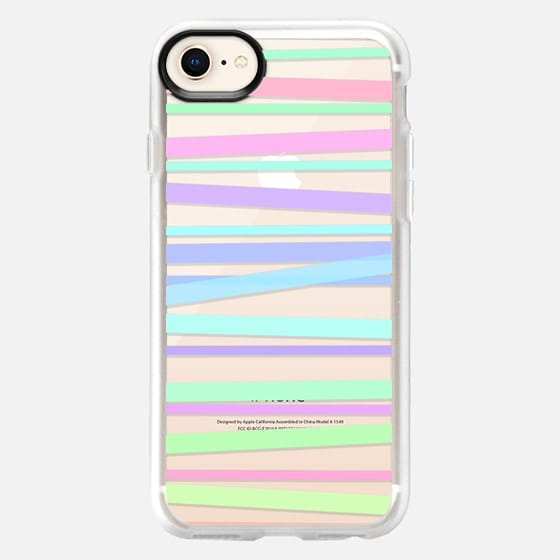 Pastel Rainbow Stripes - Transparent/Clear Background - Snap Case