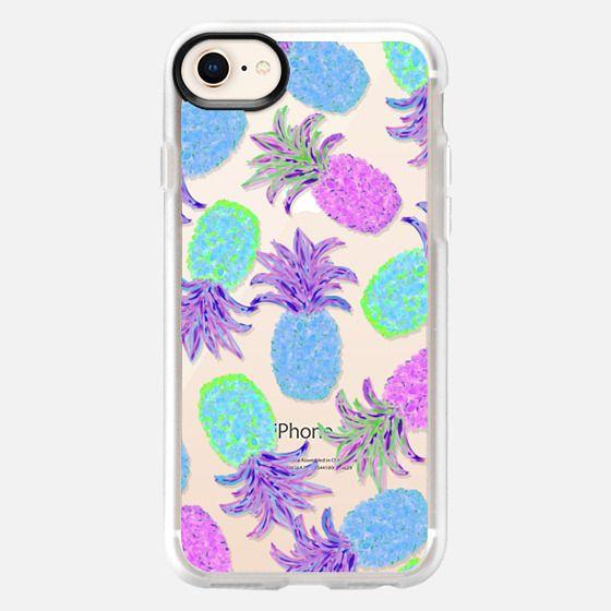 Pineapple Pandemonium Lavender Blue - Transparent/Clear Background - Snap Case
