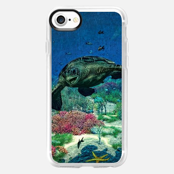 Sea turtles swim through the Mediterranean Sea - Wallet Case