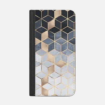 iPhone Wallet Case -  Soft Blue Gradient Cubes