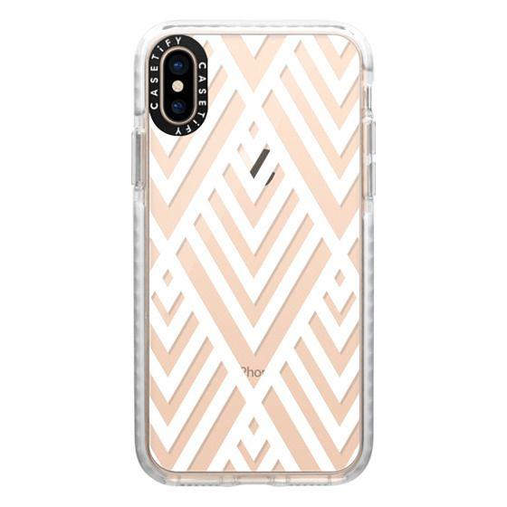 iPhone XS Cases - White Geometric Pattern