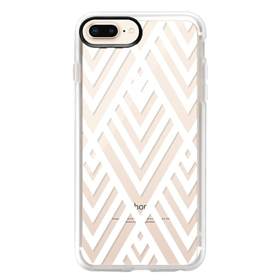 iPhone 8 Plus Cases - White Geometric Pattern