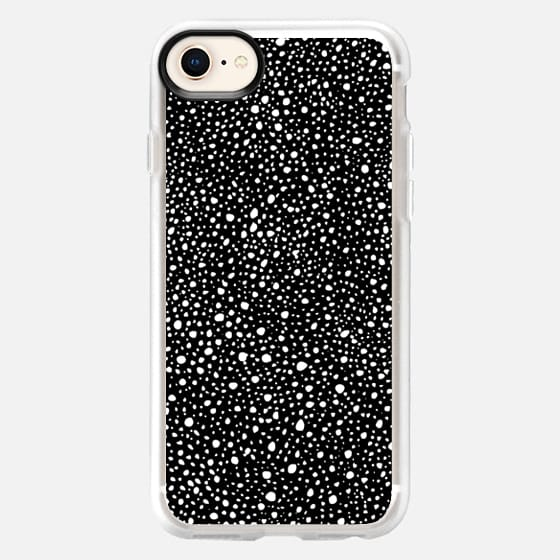 Monochrome polka dots ink splats - Snap Case