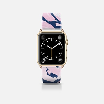 Apple Watch Band (42mm) ケース Pink Peonies on Navy -- Watercolor Florals for Apple Watch