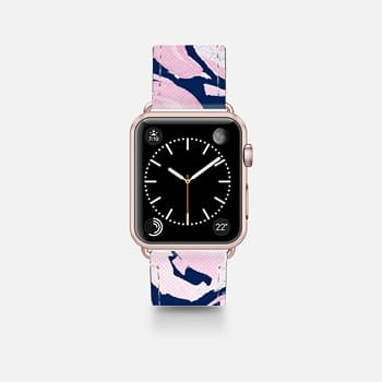 Leather Watch Band -  Pink Peonies on Navy -- Watercolor Florals for Apple Watch