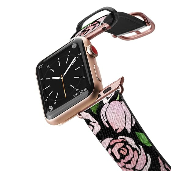 Apple Watch 38mm Bands - Watercolor Peony Blooms on Black | Apple Watch