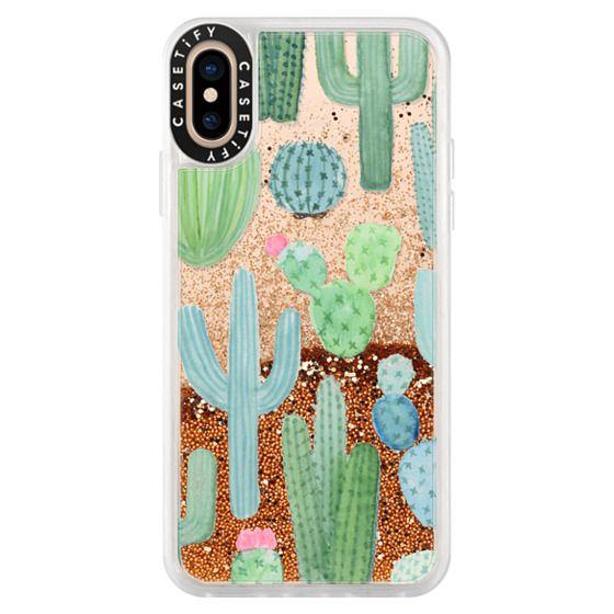 timeless design bb0ee c4099 Glitter iPhone XS Case - Desert Cactus Garden // Watercolor Cacti