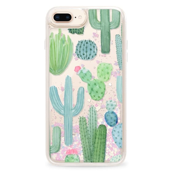 low priced 9f681 efd1c Glitter iPhone 8 Plus Case - Desert Cactus Garden // Watercolor Cacti