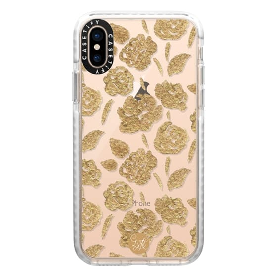 iPhone XS Cases - Gold Roses Clear