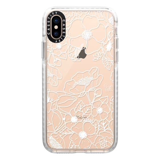 iPhone XS Cases - Floral Outline White