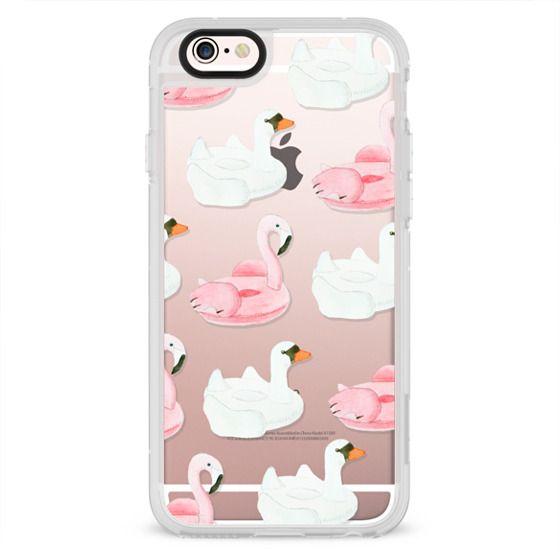 iPhone 4 Cases - Pool Float - Swan & Flamingo