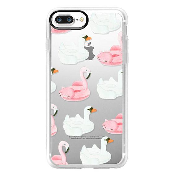 iPhone 7 Plus Cases - Pool Float - Swan & Flamingo