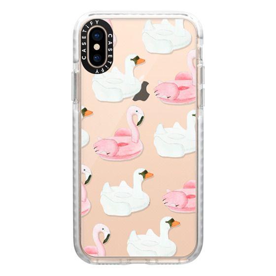 iPhone XS Cases - Pool Float - Swan & Flamingo