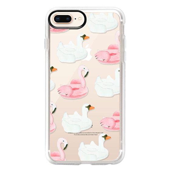 iPhone 8 Plus Cases - Pool Float - Swan & Flamingo