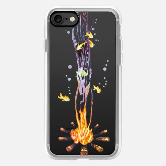 Campfire with fishes and bubbles watercolor transparent -