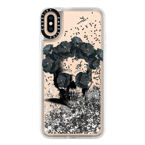 iPhone XS Max Cases - Black Floral Sugar Skull Design