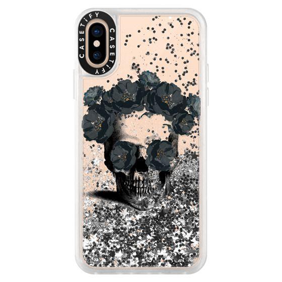 iPhone XS Cases - Black Floral Sugar Skull Design