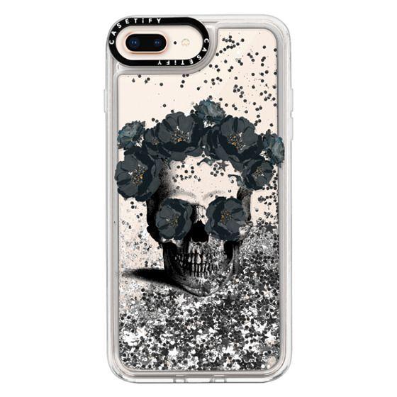 iPhone 8 Plus Cases - Black Floral Sugar Skull Design