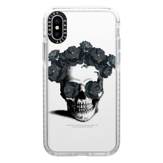iPhone X Cases - Black Floral Sugar Skull Design
