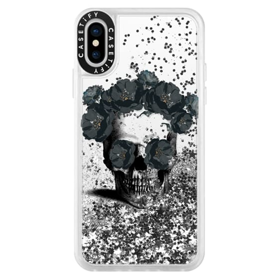 iPhone X Cases - Black Floral Sugar Skull Design