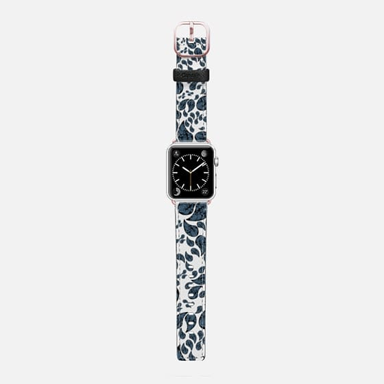 Paisley turquoise, black and white. - Saffiano Leather Watch Band