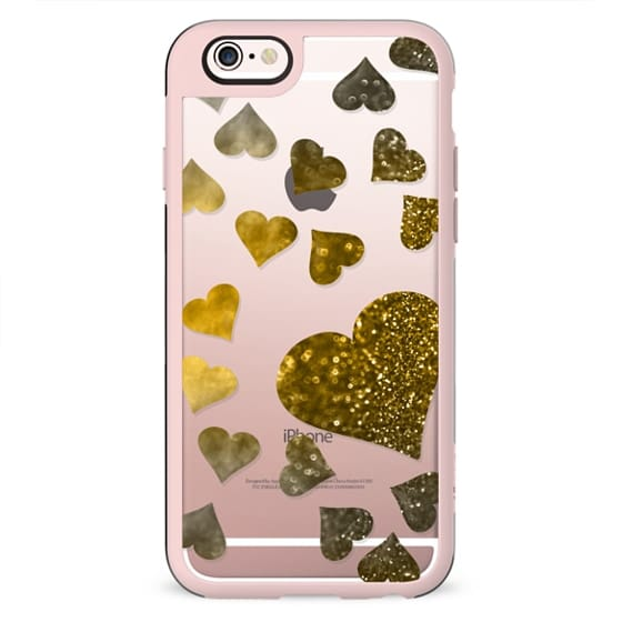 Hearts with gold glitter