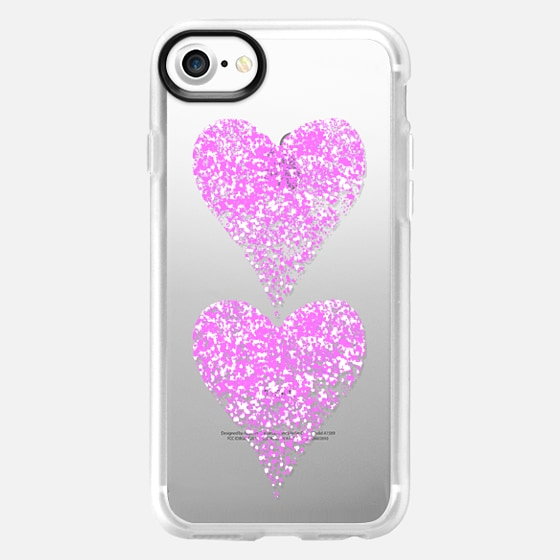 two pink sparkly hearts - Wallet Case