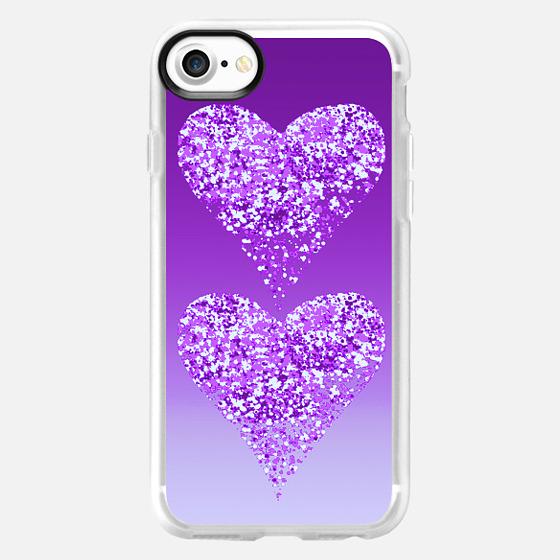 two hearts in purple -