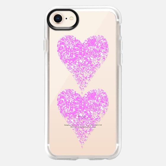 two pink sparkly hearts - Snap Case