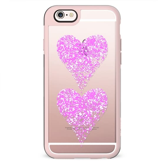 two pink sparkly hearts