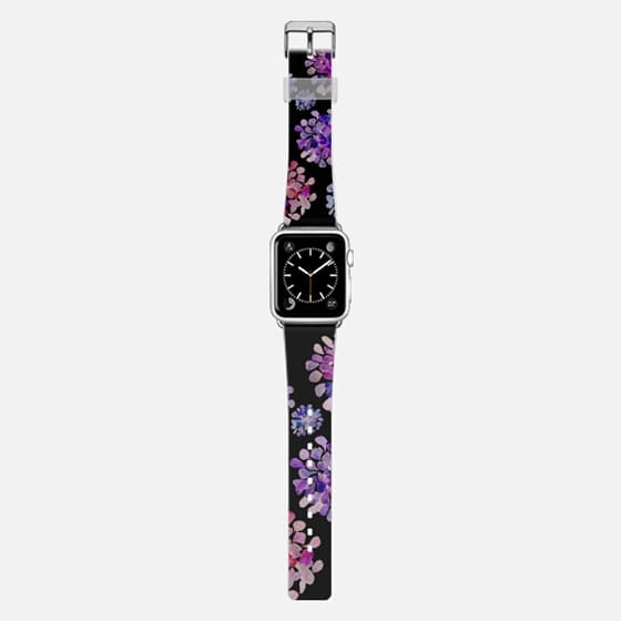 purple flowers on black apple watch - Saffiano Leather Watch Band