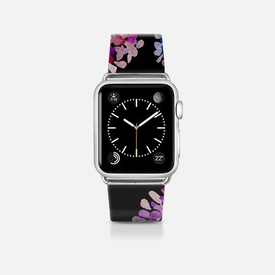 purple flowers on black apple watch