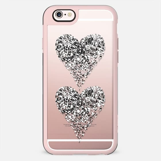 two white sparkly hearts - New Standard Case
