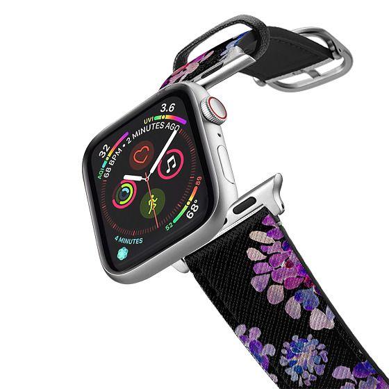 Apple Watch 42mm Bands - purple flowers on black apple watch
