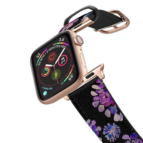 Apple Watch 38mm Bands - purple flowers on black apple watch