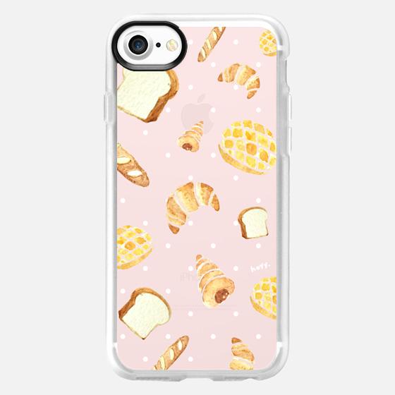 Watercolor Bread Brown Breakfast soft pink by imushstore -