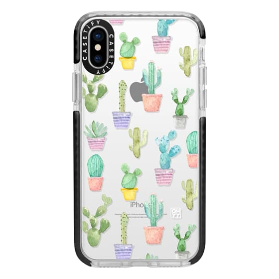 iPhone X Cases - Watercolour pastel cactus hot summer by imushstore