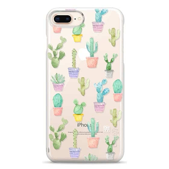 iPhone 8 Plus Cases - Watercolour pastel cactus hot summer by imushstore