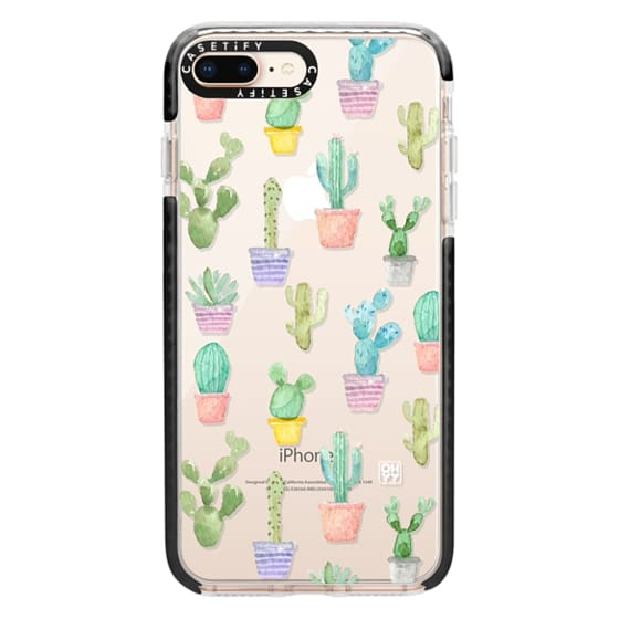 iPhone 8 Plus Cases - Watercolour pastel cactus hot summer by imushstore